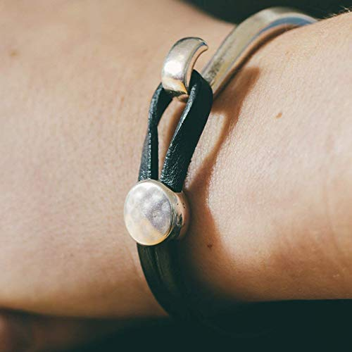 Hammered Black Leather Bracelet Jewelry Gift for Her