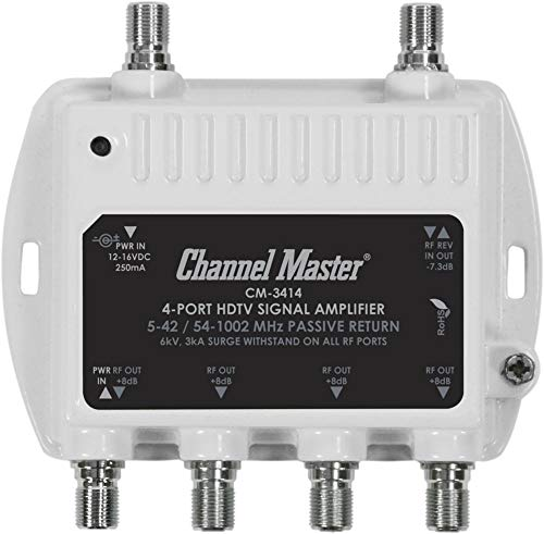 Channel Master CM3414 4-Port Distribution Amplifier for Cable and Antenna Signal (Certified Refurbished) (Channel Amplifier Tv Master)