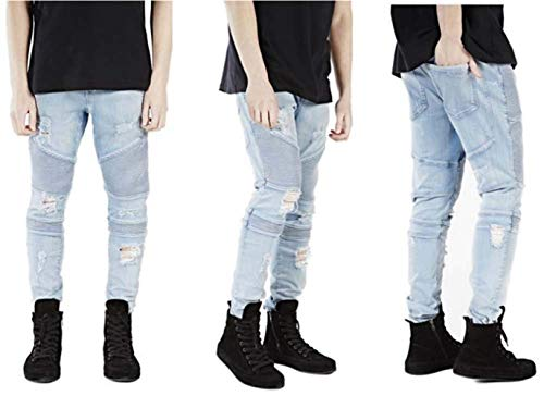Fashion Allo Distressed Strappo Blau Stretch Uomo Fessura Ginocchio Denim Jeans Yasminey Giovane Pantaloni Mens Skinny Design xwqYBpIp