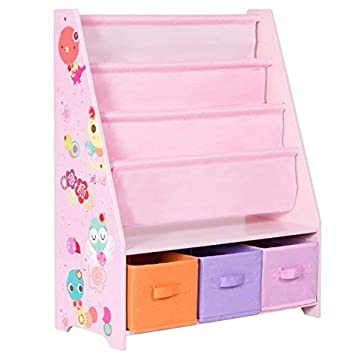 COSTWAY Wooden Kids Bookshelf Children Toy Storage Bookcase Rack Book Playroom Organizer