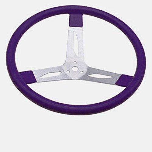 Purple Flat 15 Inch Aluminum Steering Wheel 3 Spoke Racing
