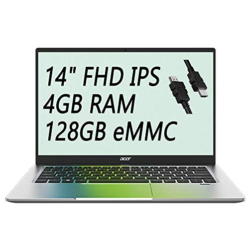 2021 Flagship Acer Swift 1 Thin and Light Laptop 14″ FHD IPS Display Intel Celeron N4020 4GB RAM 128GB eMMC Intel UHD Graphics 600 Fingerprint USB-C WiFi Win 10 + iCarp HDMI Cable