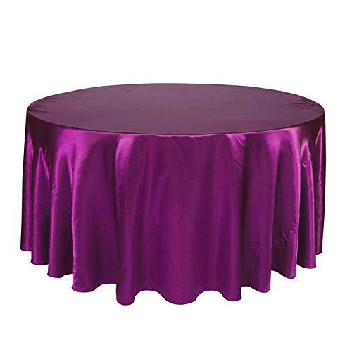 - Li-Never 1Pcs 57''90''120'' Tablecloth Solid Round Satin Table Cloth for Christmas Wedding Party Hotel Restaurant Banquet Decor,Plum,120Inch-305Cm