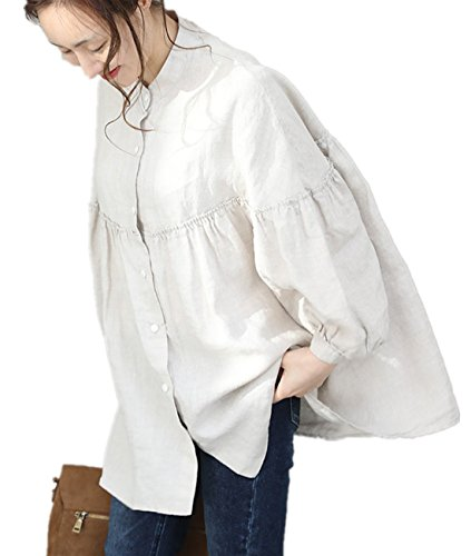YESNO WA0 Women Casual Loose Blouse Button-Down Swing Shirts Gathered High Low Bat-Wing Sleeve ()