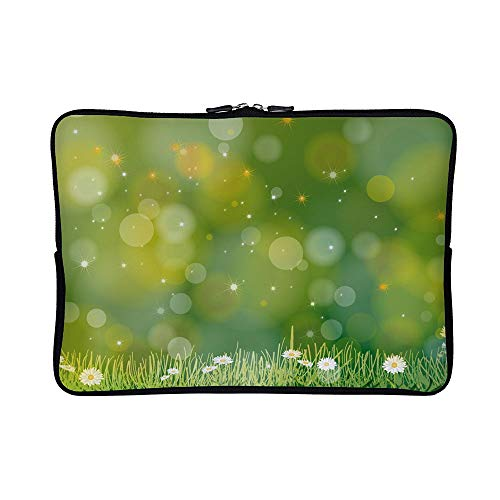 DKISEE Abstract Abstract Green Flowers Neoprene Laptop Sleeve Case Waterproof Sleeve Case Cover Bag for MacBook/Notebook/Ultrabook/Chromebooks