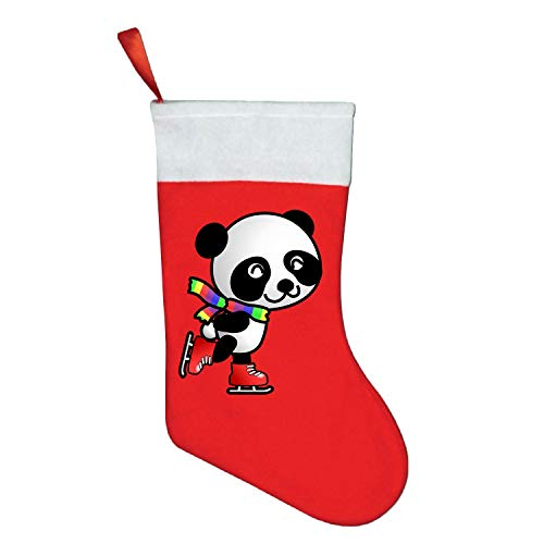 (Clipart Skating Panda Christmas Stocking, Xmas Fur Cuff Christmas Decorations and Party Accessory)