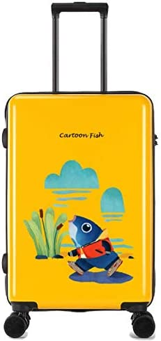 Tjtz Universal Wheel Trolley case Luggage Small Fresh 24 inch Suitcase Color : Yellow