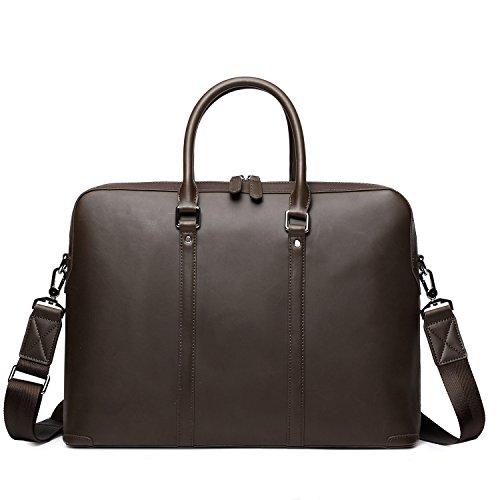 EverVanz Tote Handmade Vintage Leather Briefcase without Flap for 15 Inch Laptop Bag Shoulder Messenger Bag by EverVanz