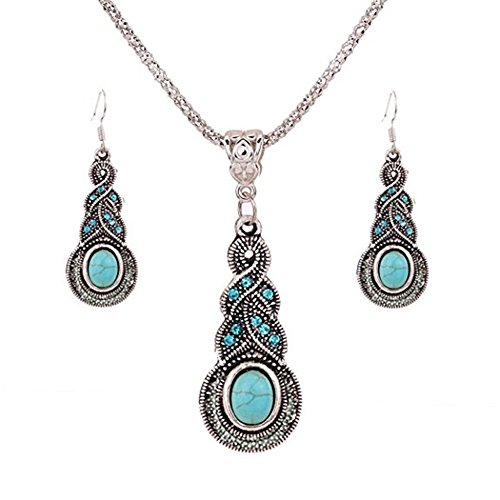 DENVOE Crystal Jewelery Set,Tibetan Silver Inlay Oval Turquoise Charming Crystal Necklace Earrings Set