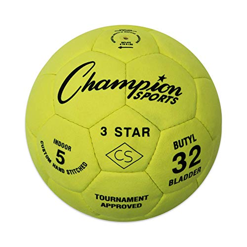Champion Sports Three Star Indoor Synthetic Leather Soccer Balls (Size 5)