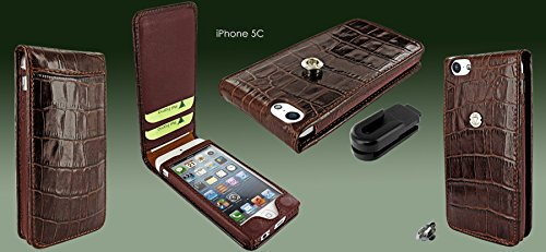 Piel Frama 595 Brown Crocodile Magnetic Leather Case for Apple iPhone 5 / 5S / SE by Piel Frama (Image #4)