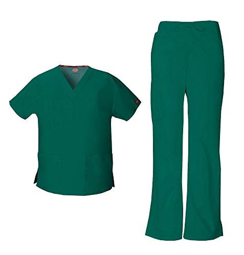 - Dickies EDS Signature Women's V-Neck Scrub Top 86706 & Flare Leg Cargo Scrub Pant 86206 Scrubs Set (Hunter - Large/Large Petite)