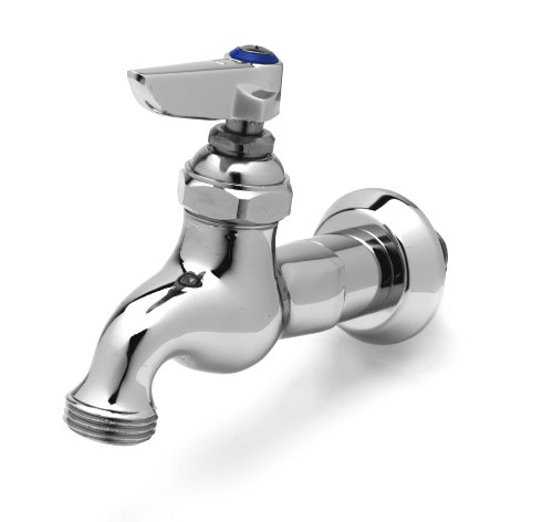 T&S Brass B-0717 Sill Faucet, 1/2-Inch Npt Male Inlet, Lever Handle, Adjustable Flange, 3/4-Inch Garden Hose (Chrome Sill Faucets)