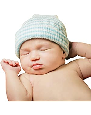 blue and white baby boy hat a newborn hospital hat