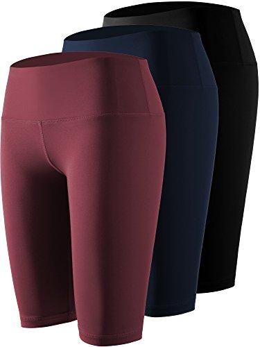 Cadmus Women's High Waist Athletic Sport Workout Shorts with Pocket,3 Pack,04,Black,Navy Blue,Dark - Leg Machine Karate