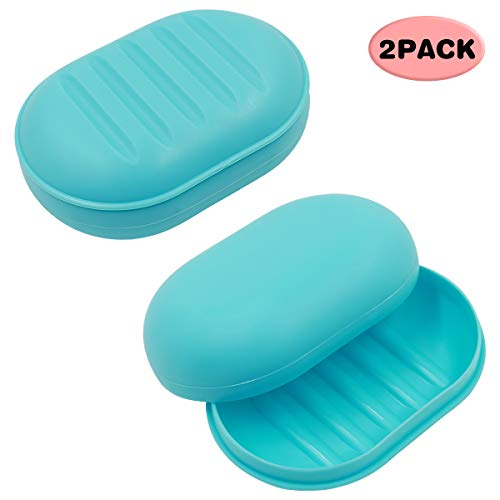 (TOPSKY Soap Case Holder, Soap Dish Self Draining Soap Saver, Shower Dish for Bathroom, 2 Pack (soap Box))