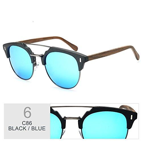 Gafas Madera Gafas Sol BLUE Hombre Madera TIANLIANG04 Y Metal En Azul Gafas Clásico Gafas De Polarizadas Popular De fFpnqd