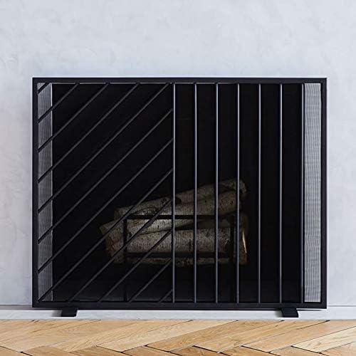 暖炉スクリーン スパークメッシュ付きブラックフラット暖炉スクリーン、オープンガス火災/ウッドバーナー/ストーブ用のベビーセーフファイアーガードスクリーン