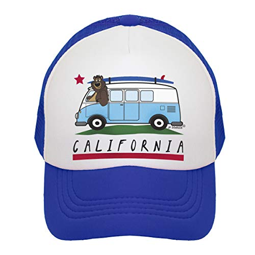 JP DOoDLES California Bear Flag on Kids Trucker Hat. Available in Baby, Toddler, Youth, and Adult Sizes (Royal Blue-Surfer Bus, Mini 12-24 MOS)