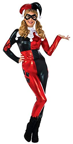 DC Comics Harley Quinn Deluxe Jumpsuit Costume, Red/Black, X-Small ()