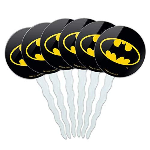 Batman Cupcake Picks (GRAPHICS & MORE Batman Classic Bat Shield Logo Cupcake Picks Toppers Decoration Set of)