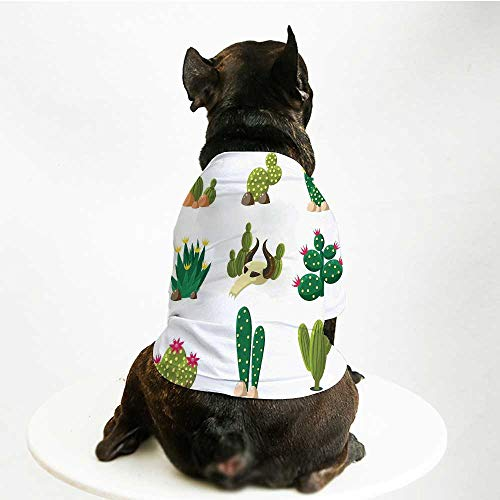 YOLIYANA Cactus Decor Comfortable Pet Suit,Mexican South Desert Animals Cactus Plants Skeletons Flowers Cartoon Image for Teddy Chihuahua Bichon,M