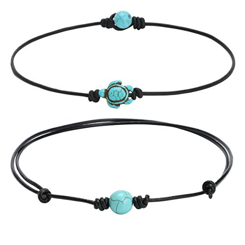 PearlyPearls 2Pcs Women's One Single Synthetic Turquoise Choker Necklace on Leather Cord Beads Necklace Choker Set for Girls