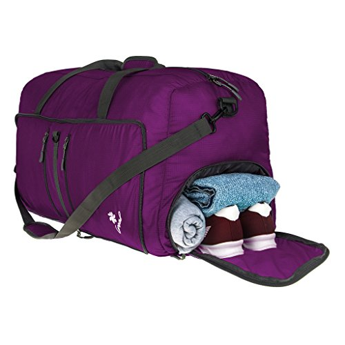 Price comparison product image Coreal 80L Foldable Travel Camping Duffle Luggage Bag with Shoe Compartment Purple