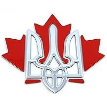 "Ukraine Canada Trident Maple Leaf Decal Emblem 3D Sticker car Bike auto 2.75"""