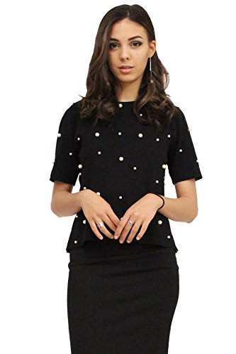 edgelook Pearl Stud Round Neck Short Sleeves Slit Sides Sweater Knit Top