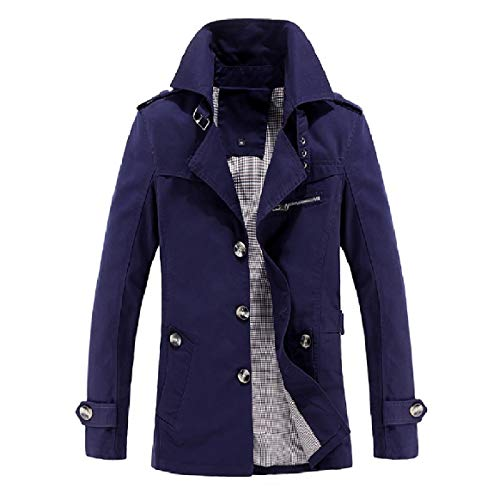 Collar Dark Solid Outwear Solid Down Blue Jacket Trench RkBaoye Coat Turn Men Washed Clothes FZWX6n0qB7