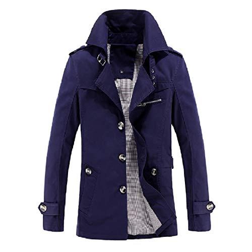 Collar Dark Solid Outwear Solid Down Blue Jacket Trench RkBaoye Coat Turn Men Washed Clothes FZWX6n0qB7