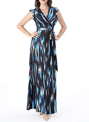 VFSHOW Womens Summer Multicolor Geometric Print Ruffle Sleeve V Neck Pockets Split Casual Beach Party Wrap Maxi Dress G3117 BLU S