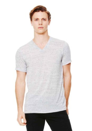 Bella 3005 Unisex Jersey Short Sleeve V-Neck Tee - White Mar