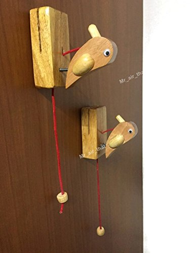 2pc Door Decorate Wood Knock Door Wall Furniture Musical Instrument Look like Woodpecker Sound