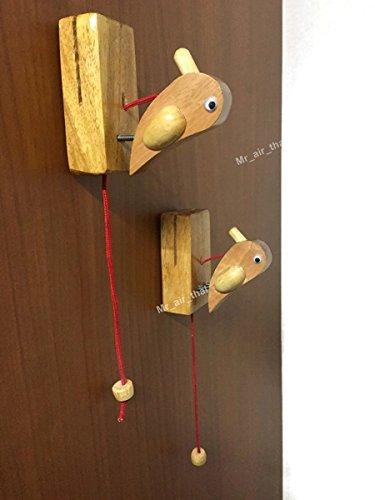 2pc Door Decorate Wood Knock Door Wall Furniture Musical Instrument Look like Woodpecker (Polished Wreath Charm)