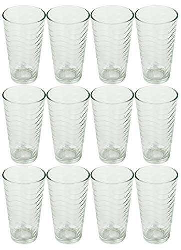 Set of 12 Drinkware Drink Glass Drinking Glasses Set, 16 Ounce Coolers Glass Cups Limited Edition Glassware Drinkware Cups (12, Waves)