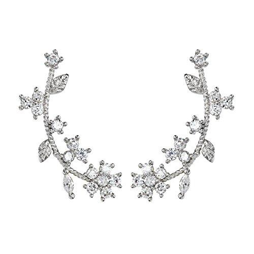 OKAJEWELRY 925 Sterling Silver Post Cubic Zircon Flower Ear Sweep Wrap Cuff Earrings OKAJEWELRY