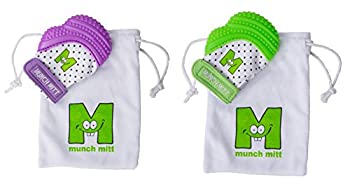 Munch Mitt® Teething Toy Stays on Baby's Hand is Self-Soothing Entertainment and Gives Pain Relief from Teething plus is an Ideal Baby Shower Gift with a Handy Travel/Laundry Bag- 1 Purple & 1 Green
