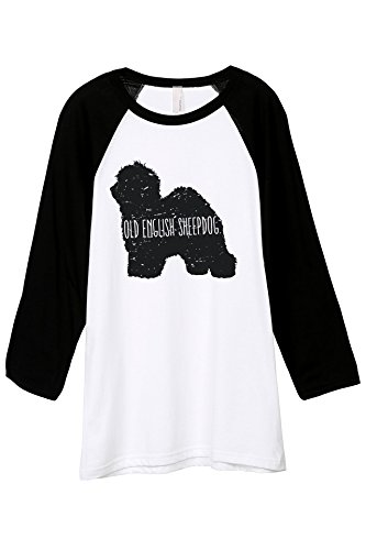 Thread Tank Old English Sheepdog Dog Silhouette Unisex 3/4 Sleeves Baseball Raglan T-Shirt Tee White Black 2X-Large -