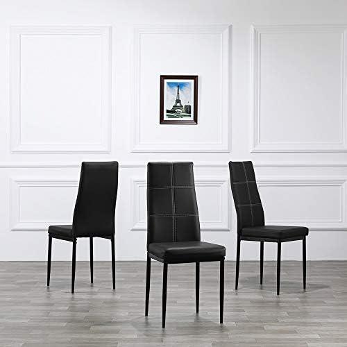 MAYL Lot de 4 chaises de salle à manger élégantes avec 6 grilles de décoration dossier blanc coussin noir