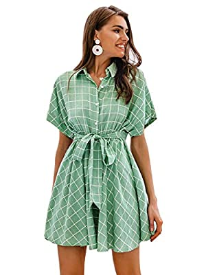 Simplee Women's V Neck Short Sleeve Dress Button Down Mini Dress with Tie Belt…