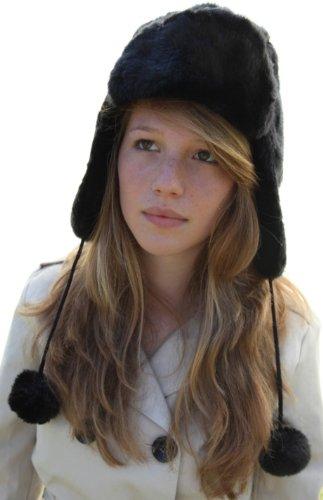 Amazon.com  Black furry super soft trapper style hat - US size 7⅛ ... abbb5f20369