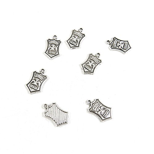 Price per Lot 50 PCS Jewelry Making Charms Antique Silver Tone Color Jewellery Charme Findingss Bulk Wholesale Suppliers Arts Crafts J7KR4 Police -