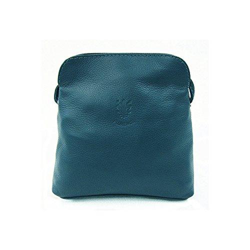 Benagio - Bolso cruzados de cuero para mujer azul azul marino small Verde azulado oscuro