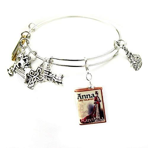 (Anna Karenina Leo Tolstoy Clay Mini Book Expandable Bangle Bracelet by Book Beads)