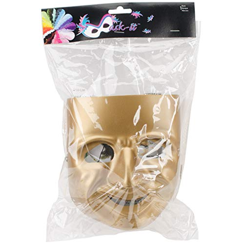 Mask-It Comedy Mask with Instruction Sheet, 7.75-Inch, Gold]()