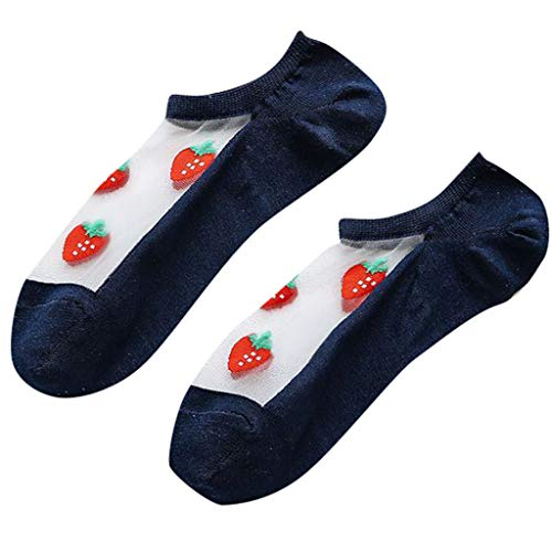 - Short Cute Sock Women Casual Summer Fashion Transparent Silk Fruit Print Socks