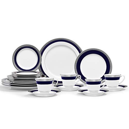 Noritake Crestwood Cobalt Platinum 20-Piece Dinnerware Place Setting, Service for 4