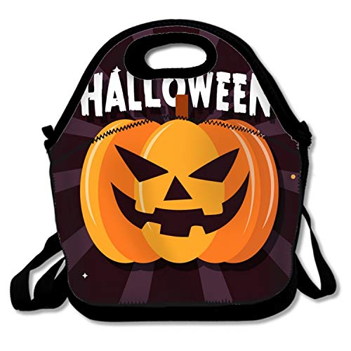 Scary Halloween Pumpkin Lunch Bag Lunchbox Food Container Tote Cooler Warm Pouch with Shoulder Strap ()